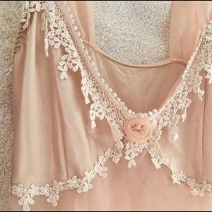 Pale Pink Satin Lace Chiffon Lingerie Chemise, S